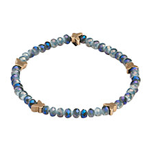 Buy One Button Faceted Crystal Mini Butterfly Bracelet, Blue / Gold Online at johnlewis.com