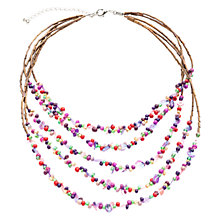 Buy One Button Wood and Beads Five Layer Waterfall Necklace, Pink Online at johnlewis.com