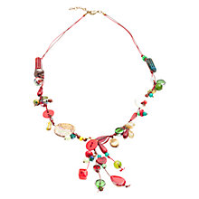 Buy One Button Y-Drop Cluster Cord Mini Necklace, Red Online at johnlewis.com