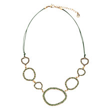 Buy One Button Open Irregular Diamante Hoop Cord Necklace, Black Online at johnlewis.com