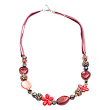 Buy One Button Glamour Charm Ribbon Necklace, Red Online at johnlewis.com
