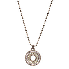 Buy One Button Open Diamante Disc Ball Chain Pendant, Pink / Lime Online at johnlewis.com