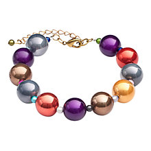 Buy One Button Pearlised Bead Bracelet, Multi Online at johnlewis.com