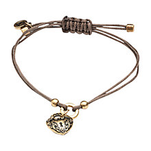 Buy One Button Antique Heart Drop Cord Bracelet, Brown Online at johnlewis.com