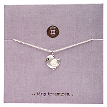 Buy One Button Tiny Treasures Bird on Card Pendant, Rhodium Online at johnlewis.com