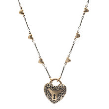 Buy One Button Antique Heart Pendant, Gold Online at johnlewis.com