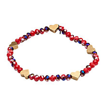 Buy One Button Faceted Crystal Mini Heart Bracelet, Red / Gold Online at johnlewis.com