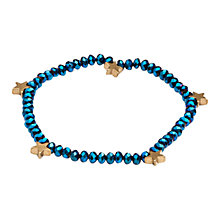 Buy One Button Faceted Crystal Mini Star Bracelet, Blue / Gold Online at johnlewis.com