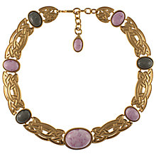 Buy Eclectica 1980s Monet Gold Plated Celtic Cabochon Necklace, Pink Online at johnlewis.com