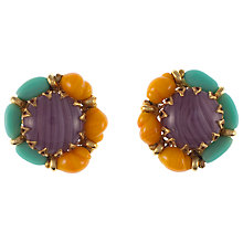 Buy Eclectica Vintage 1960s Miriam Haskell Triple Tone Glass Clip-On Earrings Online at johnlewis.com