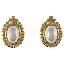 Buy Eclectica 1980s Burberry Oval Pearl Clip-On Earrings, Gold Online at johnlewis.com
