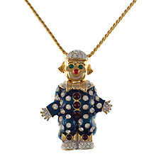 Buy Eclectica 1980s Gold Plated Enamel Clown Pendant, Blue Online at johnlewis.com
