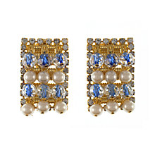 Buy Eclectica 1960s Hobe Beaded Crystal Clip-On Earrings, Gold Online at johnlewis.com