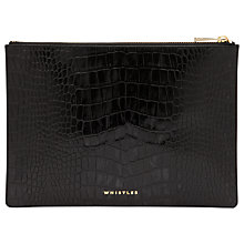 Buy Whistles Medium Shiny Croc Clutch Handbag, Black Online at johnlewis.com