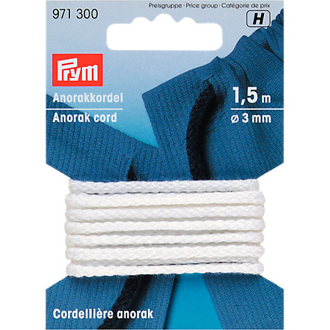 Buy Prym 4mm Parka Cord, White Online at johnlewis.com