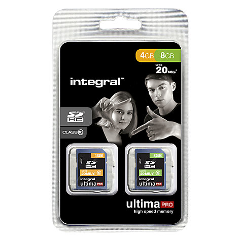 Buy Integral Ultima SDHC Class 10 Memory Card, 8GB + 4GB, up to 20MB/s Online at johnlewis.com