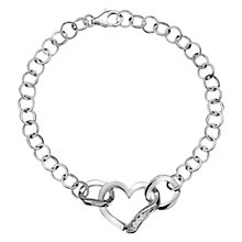 Buy Hot Diamonds Sterling Silver Sparkle Heart Bracelet Online at johnlewis.com