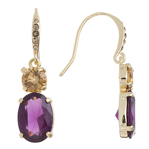 Buy Carolee High Class Colour Double Drop Earrings, Purple Online at johnlewis.com