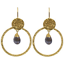 Buy Azuni 24ct Gold Plated Smoky Quartz Circle Hoop Earrings, Brown Online at johnlewis.com