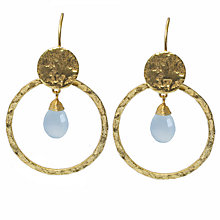 Buy Azuni 24ct Gold Plated Circle Hoop Earrings, Amazonite Online at johnlewis.com