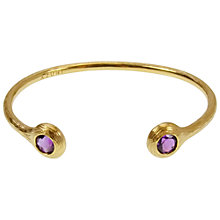 Buy Azuni 24ct Gold Plated Amethyst Nest Cuff Bangle, Purple Online at johnlewis.com