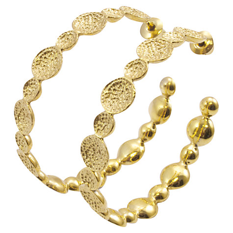Buy Azuni 24ct Gold Plated Textured Disc Hoop Earrings, Gold Online at johnlewis.com