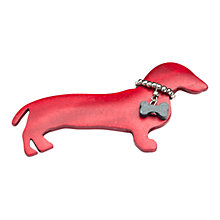Buy One Button Dolly Sausage Dog Wooden Brooch, Red Online at johnlewis.com
