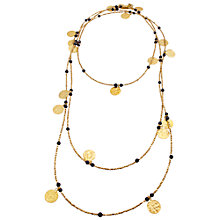 Buy Azuni 24ct Gold Plated Black Onyx Long Necklace Online at johnlewis.com