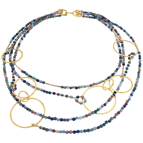 Buy Azuni 24ct Gold Plated Hoop Onyx and Hematite Necklace Online at johnlewis.com