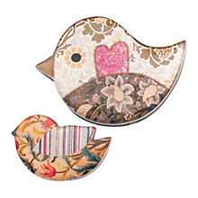 Buy One Button Resin Mother and Baby Birds Brooch Pair, Brown Online at johnlewis.com