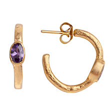 Buy Ottoman Hands Small Crystal Hoop Earrings, Purple Online at johnlewis.com
