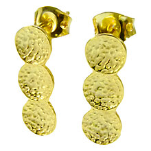 Buy Azuni 24ct Gold Plated Triple Disc Textured Drop Earrings Online at johnlewis.com