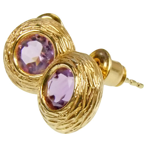 Buy Azuni 24ct Gold Plated Amethyst Nest Stud Earrings Online at johnlewis.com