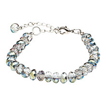 Buy One Button Faceted Crystal Single Row Bracelet, Grey / Green Online at johnlewis.com