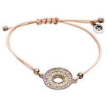 Buy One Button Open Diamante Disc Cord Bracelet, Pink / Lime Online at johnlewis.com