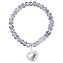 Buy Joma Millie Silver Beam Textured Heart Crystal Bracelet Online at johnlewis.com