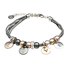 Buy One Button Large Diamante Love Cord Bracelet, Gold/ Silver Online at johnlewis.com