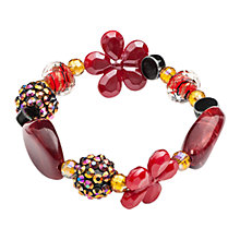 Buy One Button Assorted Glamour Charm Stretch Bracelet, Red Online at johnlewis.com