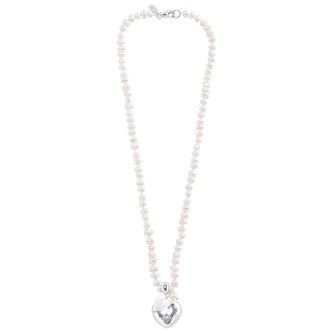 Buy Joma Emily White Pearl Silver Heart Necklace Online at johnlewis.com
