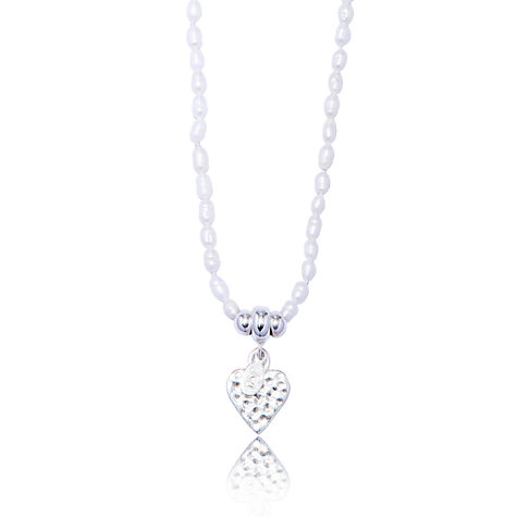 Buy Joma Lyra Textured Heart Pearl Necklace Pendant, White Online at johnlewis.com