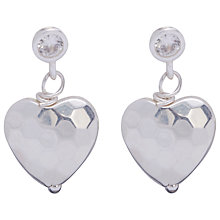Buy Joma Mimi Silver Textured Heart Drop Earrings Online at johnlewis.com