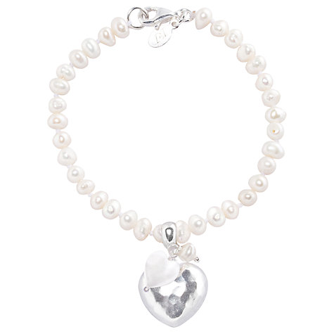 Buy Joma Emily White Pearl Silver Heart Bracelet Online at johnlewis.com