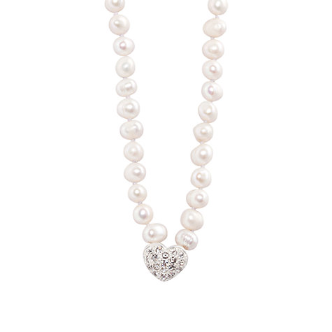 Buy Joma Loulou White Pearl Crystal Heart Pendant Necklace Online at johnlewis.com
