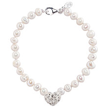 Buy Joma Loulou White Pearl Crystal Heart Bracelet Online at johnlewis.com