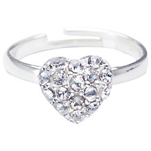 Buy Joma Silver Plated Pave Heart Adjustable Ring Online at johnlewis.com