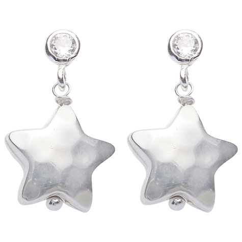 Buy Joma Mimi Silver Textured Star Crystal Drop Earrings Online at johnlewis.com
