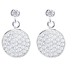 Buy Joma Silver Plated Diamante Round Disc Drop Earrings Online at johnlewis.com