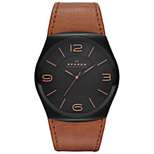 Buy Skagen SKW6042 Men's Perspektiv Leather Strap Watch, Brown Online at johnlewis.com