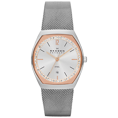 Buy Skagen SKW2050 Women's Two Tone Crystal Mesh Bracelet Watch Online at johnlewis.com