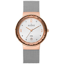 Buy Skagen 456LRS Women's Faceted Bezel Stainless Steel Mesh Bracelet Watch, Rose Gold Online at johnlewis.com